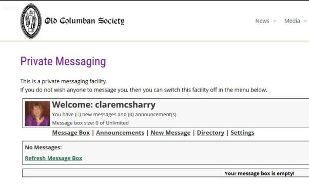 Old Columban society-private-messaging-Smiling Spiders Web design and website development
